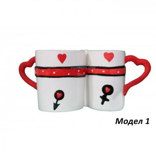 Комплект керамични чаши - за влюбени