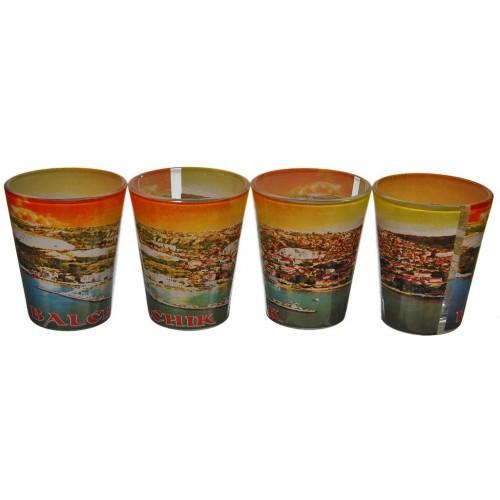 Комплект стъклени чаши с пристанището в Балчик