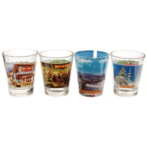 Комплект сувенирни стъклени чаши България